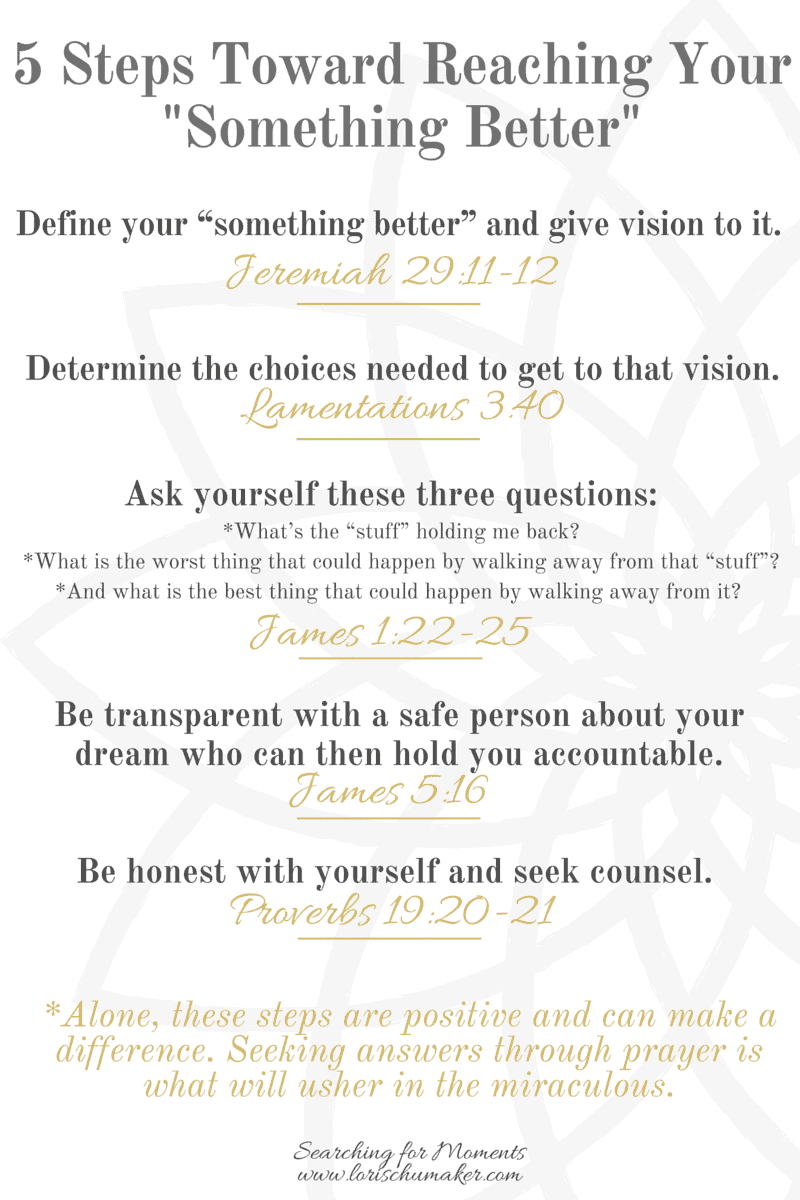 """5 Steps Toward Reaching Your Something Better -What Is Your Something Better? Are you stuck in a place hopelessness. Wanting to get out, but not sure how? Join me for the """"Something Better Series"""" where you will read hope-filled true stories of others who set the past behind and stepped out toward their something better. You will get strategies and discover your own path to living life unstuck. -Lori Schumaker"""